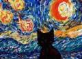 4猫のいる絵黒猫の丹後ゴッホの星月夜