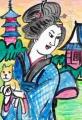 3猫のいる絵江戸猫カフェ江戸名所百人美女浅草寺