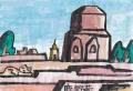 4猫のいる絵仏陀の初転法輪の地。サールナートダメーク大塔