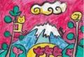 4猫のいる絵 猫と富士(3)