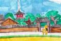 3猫のいる絵菜の花の咲く法起寺に猫二匹