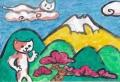 3猫のいる絵 猫と富士(4)