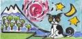 4猫のいる絵猫と 日月星(2)