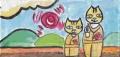 4猫のいる絵こけし猫二上山猫と (5)