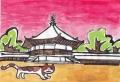 4猫のいる絵法隆寺夢殿