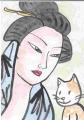 4猫のいる浮世絵 湯上り(3)