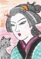 4猫のいる浮世絵百人美女 茶くみ女(1)