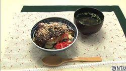 生姜お好みソースでいただく我が家の豚平丼・ 即席もずく酢のお吸い物添え
