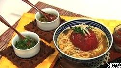 3種の香味で味わう夏野菜と丸ごとトマトの冷やし汁パスタ ~トマトの1口デザートと一緒に~