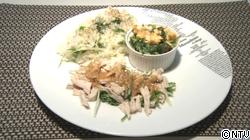 水菜の混ぜご飯、卵味噌和え、お手軽棒棒鶏