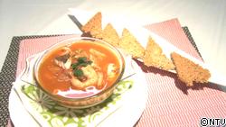 海鮮トマトスープかけ茶碗蒸し・おこげ添え