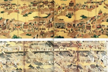 戦国期と江戸初期の京都の街並み