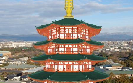法勝寺八角九重塔と京都ズーム