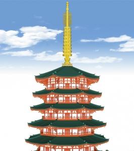 八角九重塔(緑釉瓦)