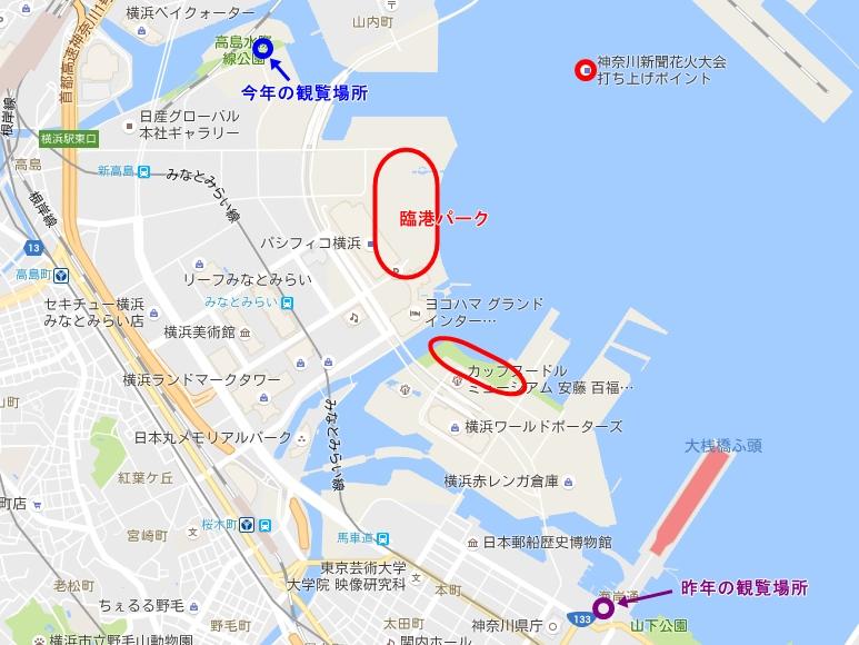 神奈川新聞花火大会打ち上げ場所