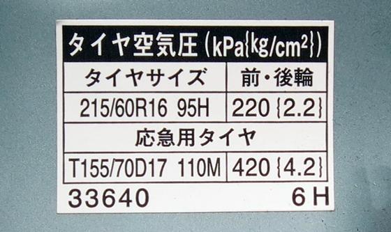 クルマタイヤ空気圧