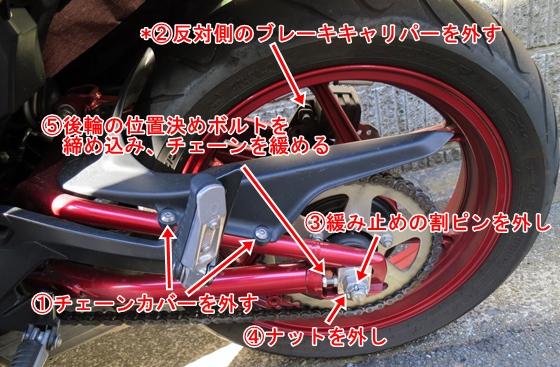 バイク後輪の外し方