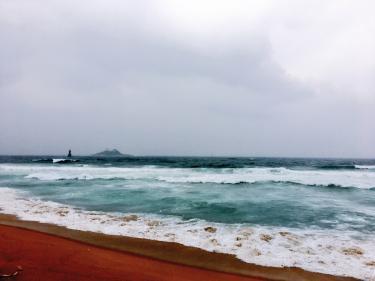 荒波のビーチを見学w