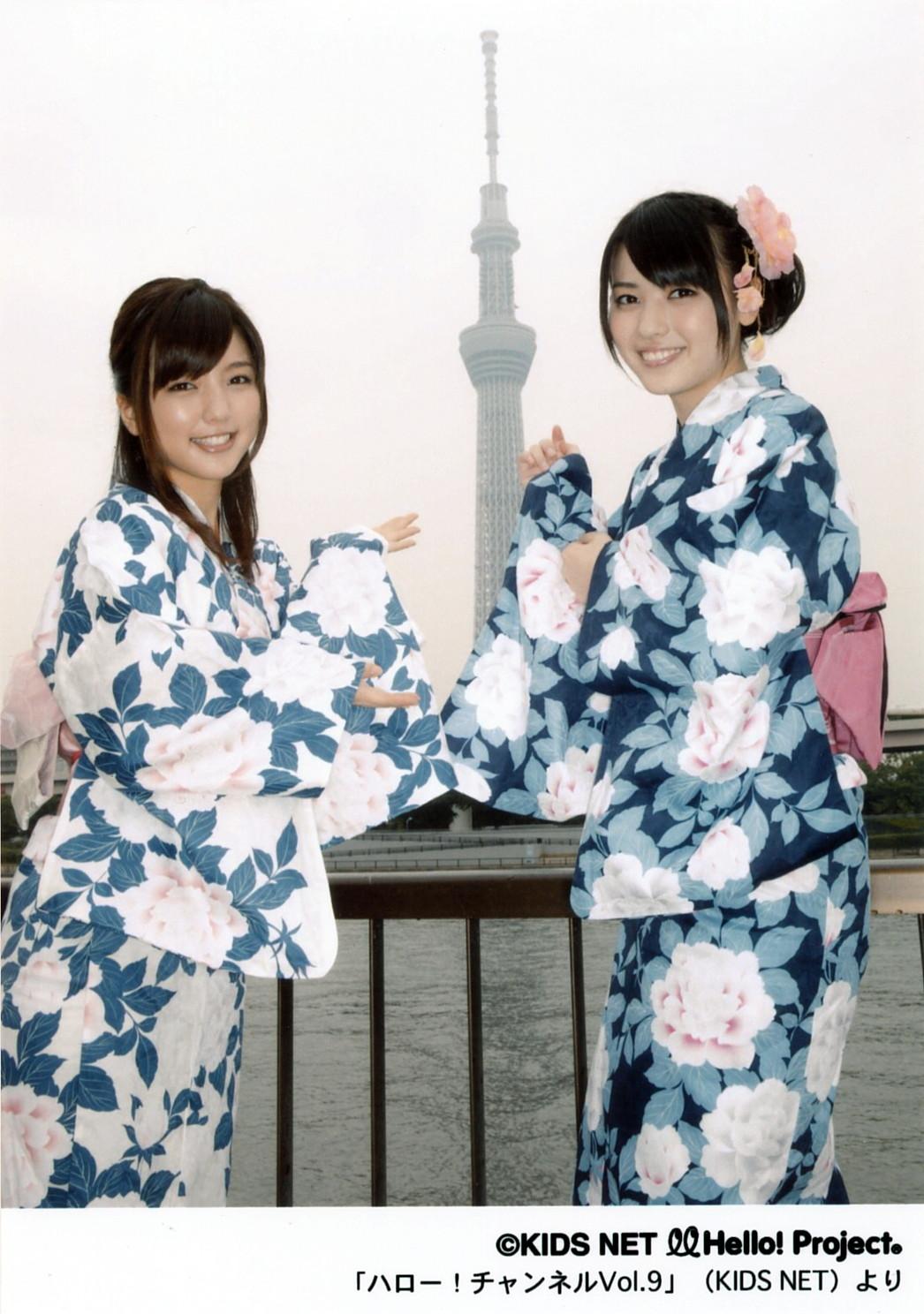 東京スカイツリー 花柄の浴衣 真野恵里菜 矢島舞美