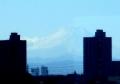 ツインタワーにまたがる富士山