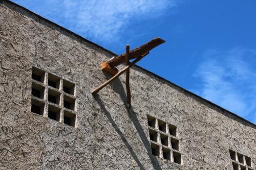 0171:秋野不矩美術館 土壁の樋