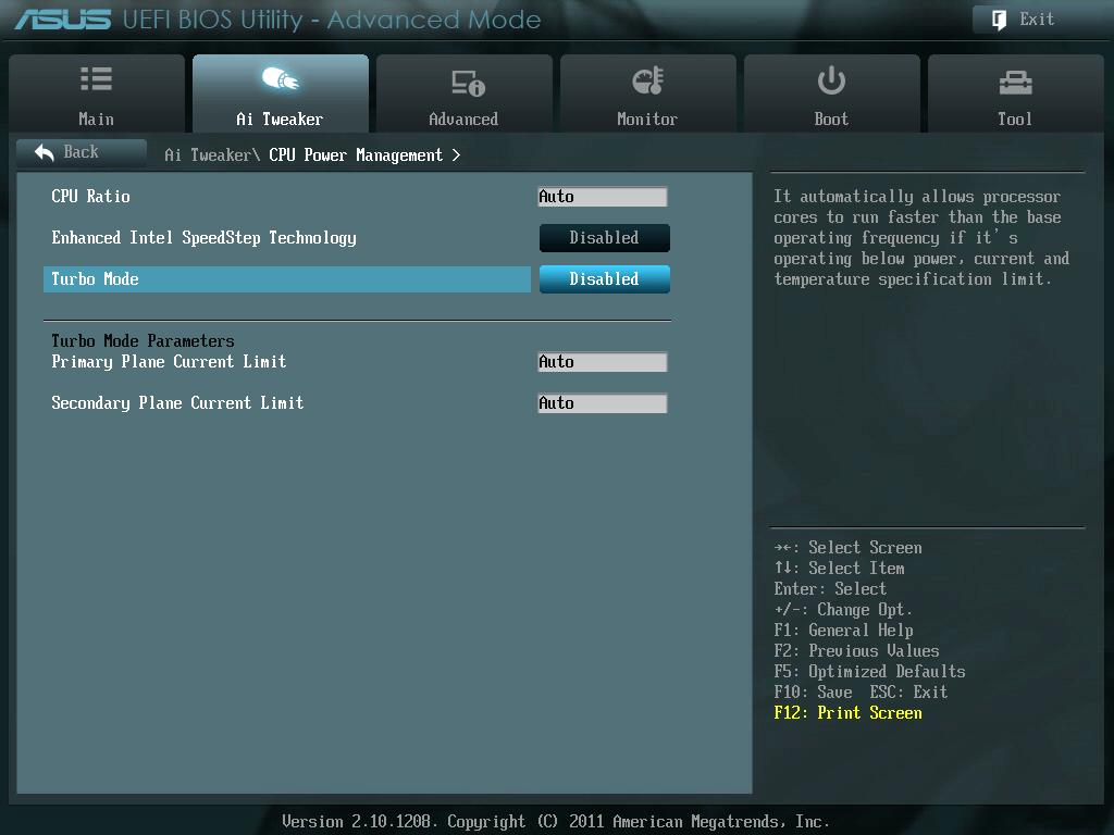 ASUS P8Z68-V PRO/GEN3 UEFI BIOS Version 3802 Enhanced Intel SpeedStep Technology(EIST)、Turbo Mode(Turbo Boost・・・TB) Disabled(無効) に変更