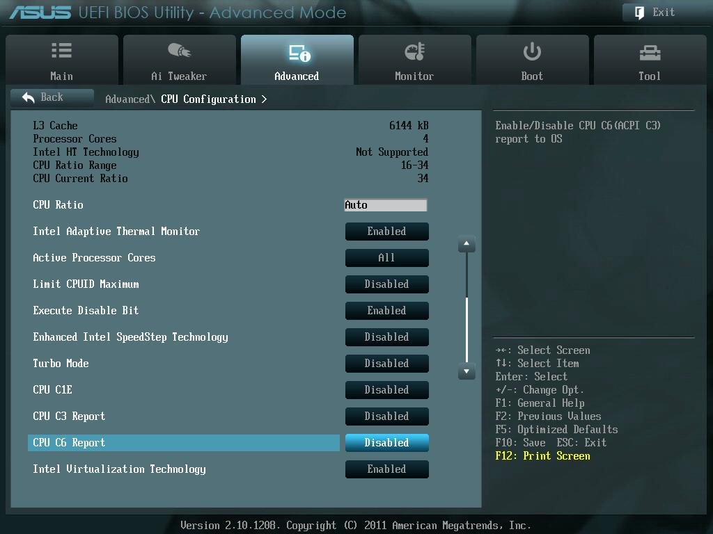 ASUS P8Z68-V PRO/GEN3 UEFI BIOS Version 3802 CPU C1E、C3 Report、CPU C6 Report Auto から Disable に変更
