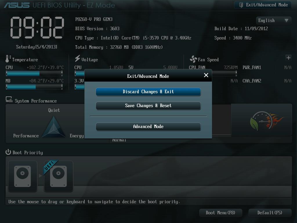 ASUS P8Z68-V PRO/GEN3 UEFI BIOS Utility English EZ Mode - Exit/Advanced Mode