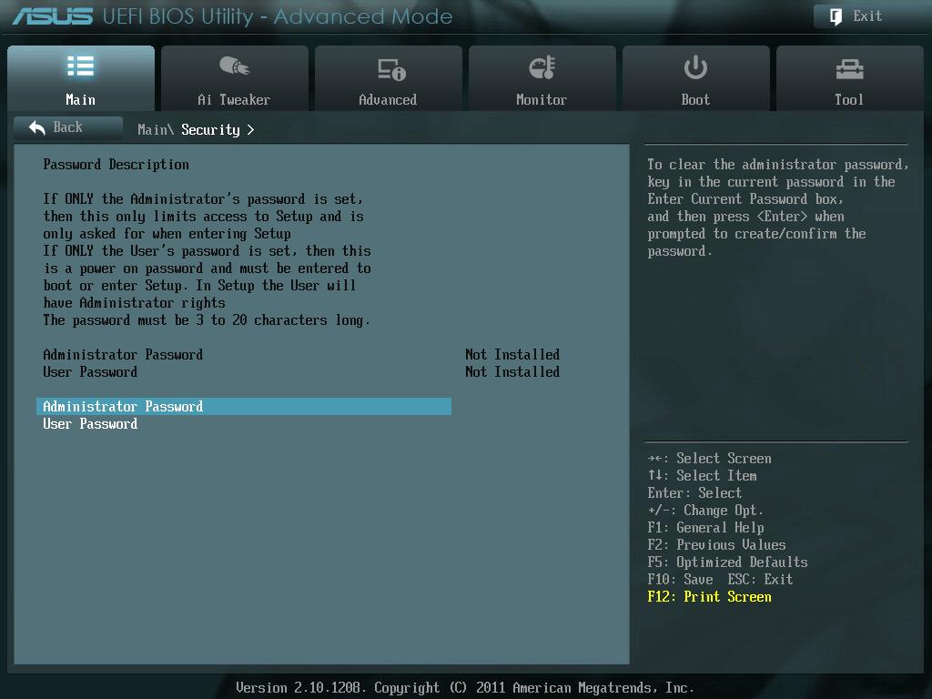 ASUS P8Z68-V PRO/GEN3 UEFI BIOS Utility English Main - Security