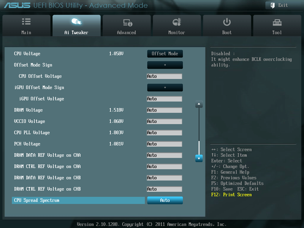 ASUS P8Z68-V PRO/GEN3 UEFI BIOS Utility English Ai Tweaker