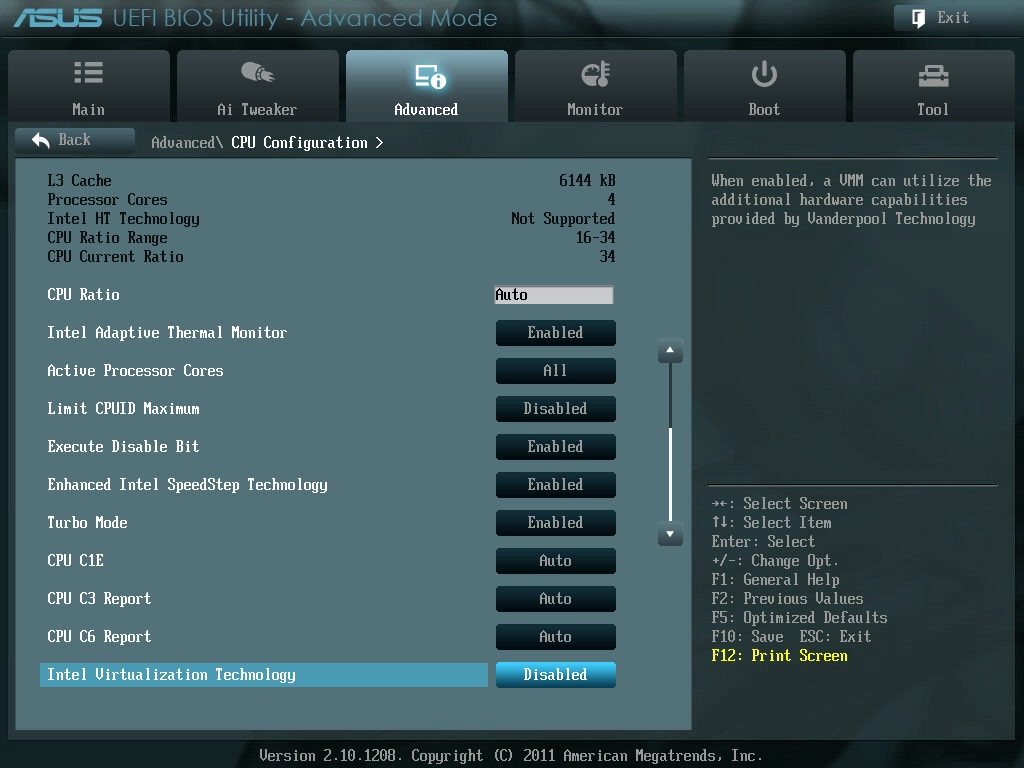 ASUS P8Z68-V PRO/GEN3 UEFI BIOS Utility English Advanced - CPU Configuration