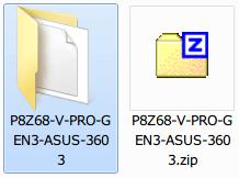 ASUS P8Z68-V PRO/GEN3 BIOS P8Z68-V-PRO-GEN3-ASUS-3603.ROM ダウンロード、ダウンロードした P8Z68-V-PRO-GEN3-ASUS-3603.zip を解凍・展開
