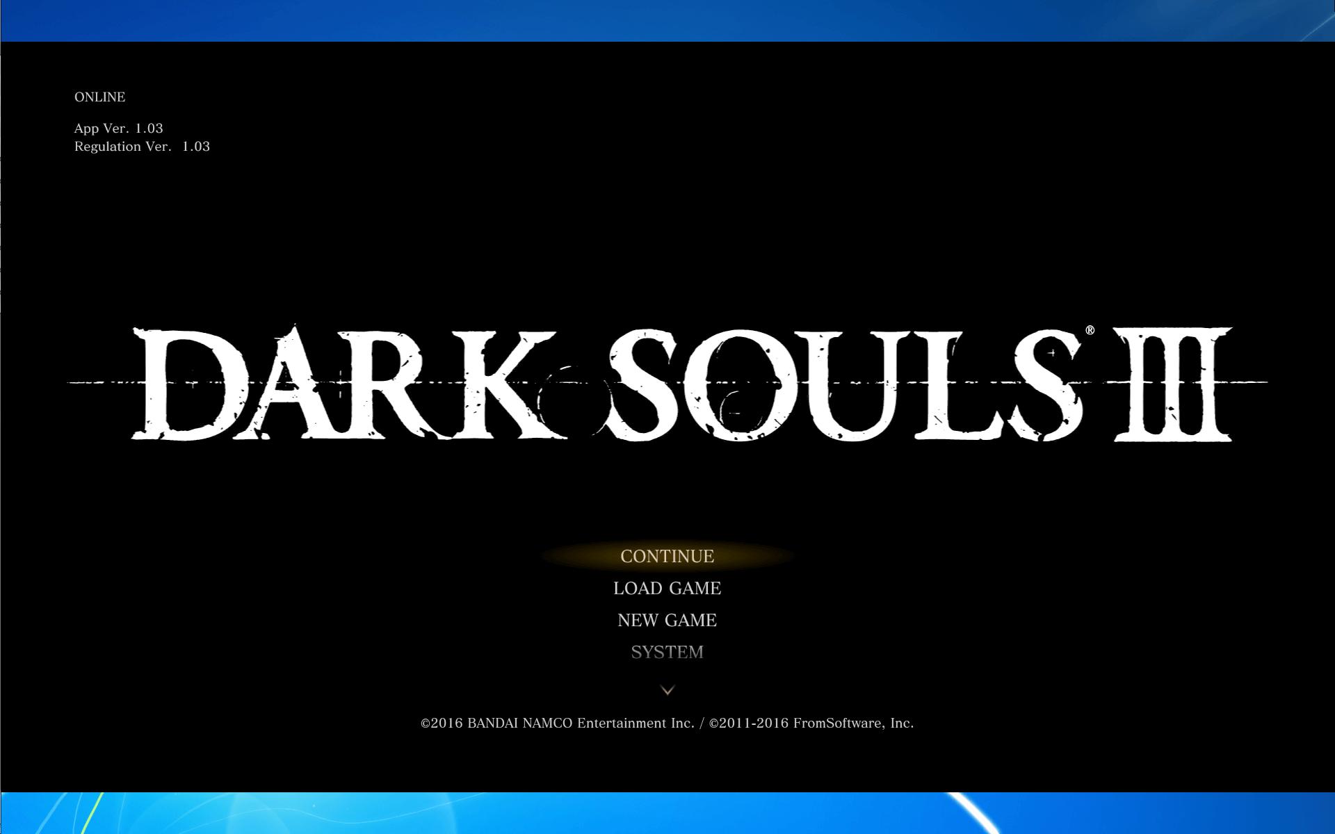 WUXGA モニターで Borderless Gaming を使ってアスペクト比を維持したまま仮想フルスクリーン(ボーダーレスウィンドウ)表示した PC 版 DARK SOULS III