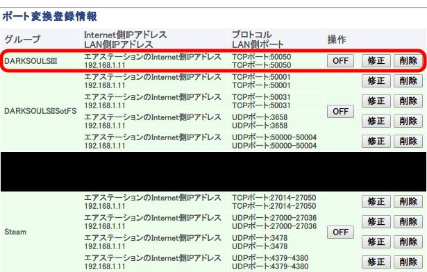 PC 版 DARK SOULS III ポート開放設定、Buffalo WZR-S900DHP ポート変換登録情報
