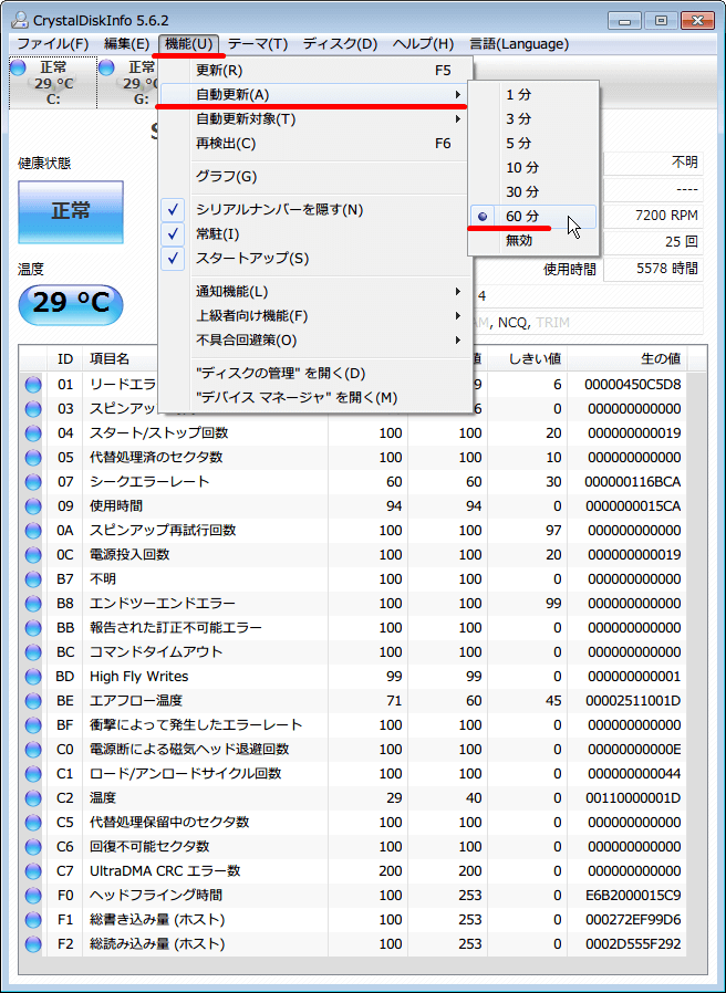 CrystalDiskInfo のメニューから 「機能 (U)」 - 「自動更新 (A)」 から 60 分をクリック、頻繁に自動更新する必要はないと判断して最長の 60 分を選択