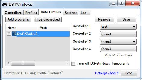 DS4Windows バージョン 1.4.52 Auto Profiles タブ Add programs からゲームプログラムを指定して、Controller 1 にプロファイルを割り当てて Save ボタンで設定を保存、ゲームを起動してプロファイルで設定した内容が反映されればプロファイル切り替え成功、指定したプログラムがウィンドウアクティブになっている場合のみプロファイルが切り替わるので、違うウィンドウに移動すると切り替える前のプロファイルに自動的に戻る