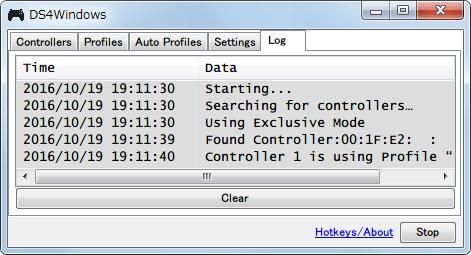 DS4Windows バージョン 1.4.52 Log タブ