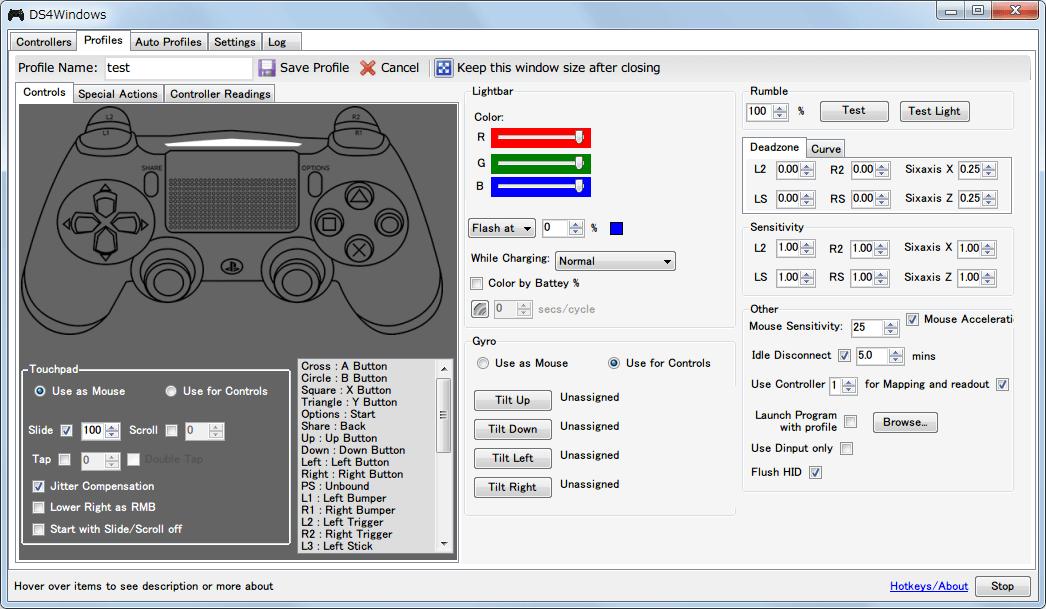 DS4Windows バージョン 1.4.52 プロファイル編集画面