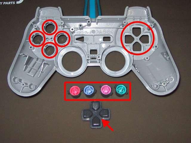 PS コントローラー(デュアルショック) スプレーを使ってメンテナンス、○×△□ボタンの側面とボタン穴のすれ合う部分と十字キーと十字キー穴のすれ合う部分にドライファストルブを噴射