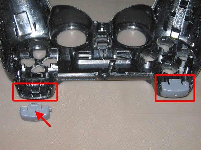 PS2 コントローラー(デュアルショック 2) スプレーを使ってメンテナンス、L1・R1 ボタンと L1・R1 ボタン溝のすれ合う部分にドライファストルブを噴射