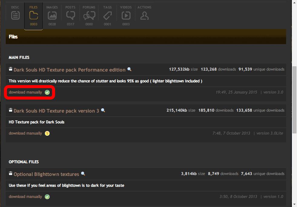ブラウザから Nexus mods and community にアクセス、Dark Souls の Mod ファイルをダウンロードして Nexus Mod Manager(NMM) に手動で取り込む、Mod ページにアクセスして download manually をクリック