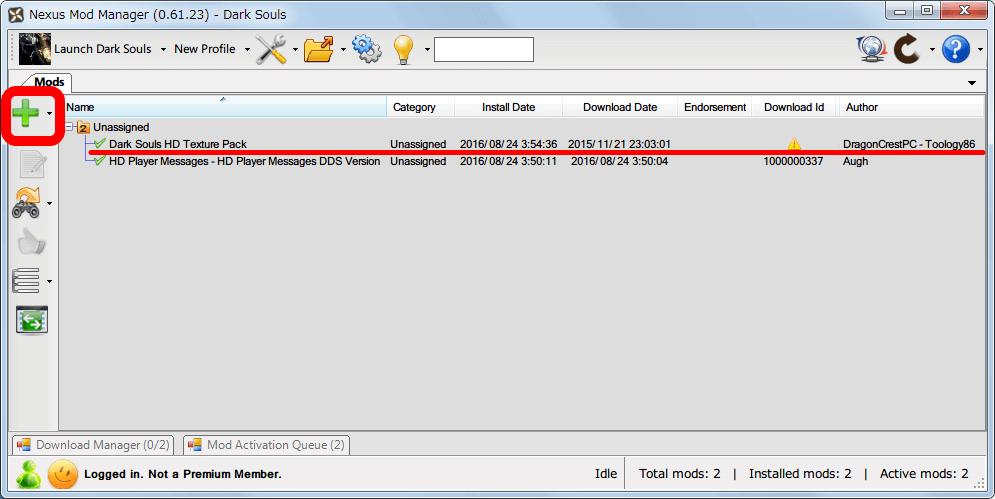 Nexus Mod Manager(NMM) 画面右側にある +ボタン(Add Mod from File) をクリックしてダウンロードした Mod ファイルを追加するか、NMM に Mod ファイルをドラッグアンドドロップで追加する
