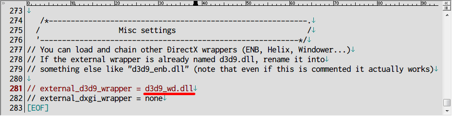 Dark Souls SweetFX HDR の SweetFX_settings.txt 281行目の external_d3d9_wrapper に リネームした d3d9_wd.dll を記述して保存