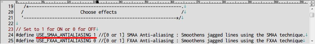 Dark Souls SweetFX HDR 霧バグ対処方法、SweetFX_settings.txt 24 行目の SMAA アンチエイリアスが 1 (有効) になっているのが原因