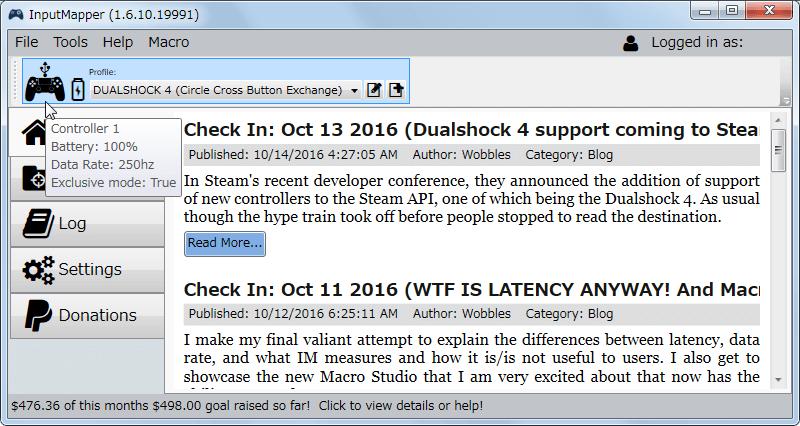 InputMapper 1.6.10 新型デュアルショック 4 コントローラー USB ケーブル接続時の Data Rate 250Hz 前後