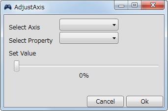 InputMapper 1.6.9 Profiles 画面で選択したプロファイルの編集画面内容 Macros タブで New Macro または Edit Macro をクリックしたときに開く Macro Builder 画面の Macro タブにある Fuctions タブ内にある Adjust Axis ボタンをクリックしたときに開く AdjustAxis 画面、左右アナログスティックの入力感度の変更