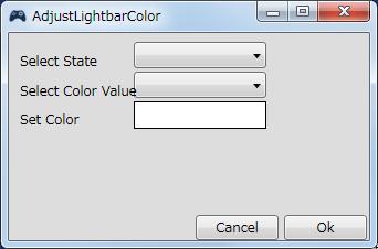 InputMapper 1.6.9 Profiles 画面で選択したプロファイルの編集画面内容 Macros タブで New Macro または Edit Macro をクリックしたときに開く Macro Builder 画面の Macro タブにある Fuctions タブ内にある Adjust Lightbar Color ボタンをクリックしたときに開く Adjust Lightbar Color 画面、充電・バッテリー駆動状態でのライトバーカラー変更
