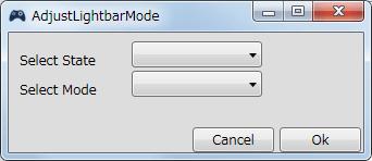 InputMapper 1.6.9 Profiles 画面で選択したプロファイルの編集画面内容 Macros タブで New Macro または Edit Macro をクリックしたときに開く Macro Builder 画面の Macro タブにある Fuctions タブ内にある Adjust Lightbar Mode ボタンをクリックしたときに開く AdjustLightbarMode 画面、充電・バッテリー駆動状態でのライトバー点滅・点灯状態の変更
