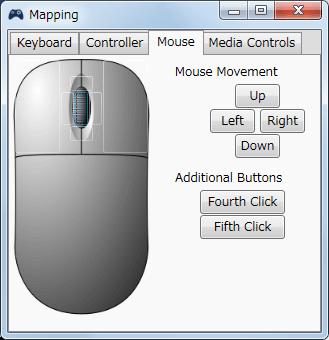 InputMapper 1.6.9 Profiles 画面で選択したプロファイルの編集画面内容 Mapping タブで各ボタンに割り当てられる内容 Mouse タブ