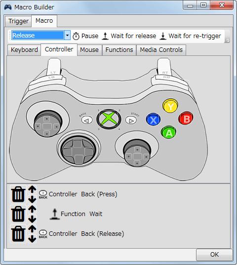 InputMapper 1.6.9 Macro Builder 画面の Macro タブで SHARE(Back) ボタンを割り当て、画像左上にある Press and Release ではマクロ起動時に繰り返し入力されるので、必ず Press を選択後コントローラーの Back ボタンをクリック、画像上部にある ↑ Wait for release をクリック、Release を選択して Back ボタンをクリックという 3つの設定が必要